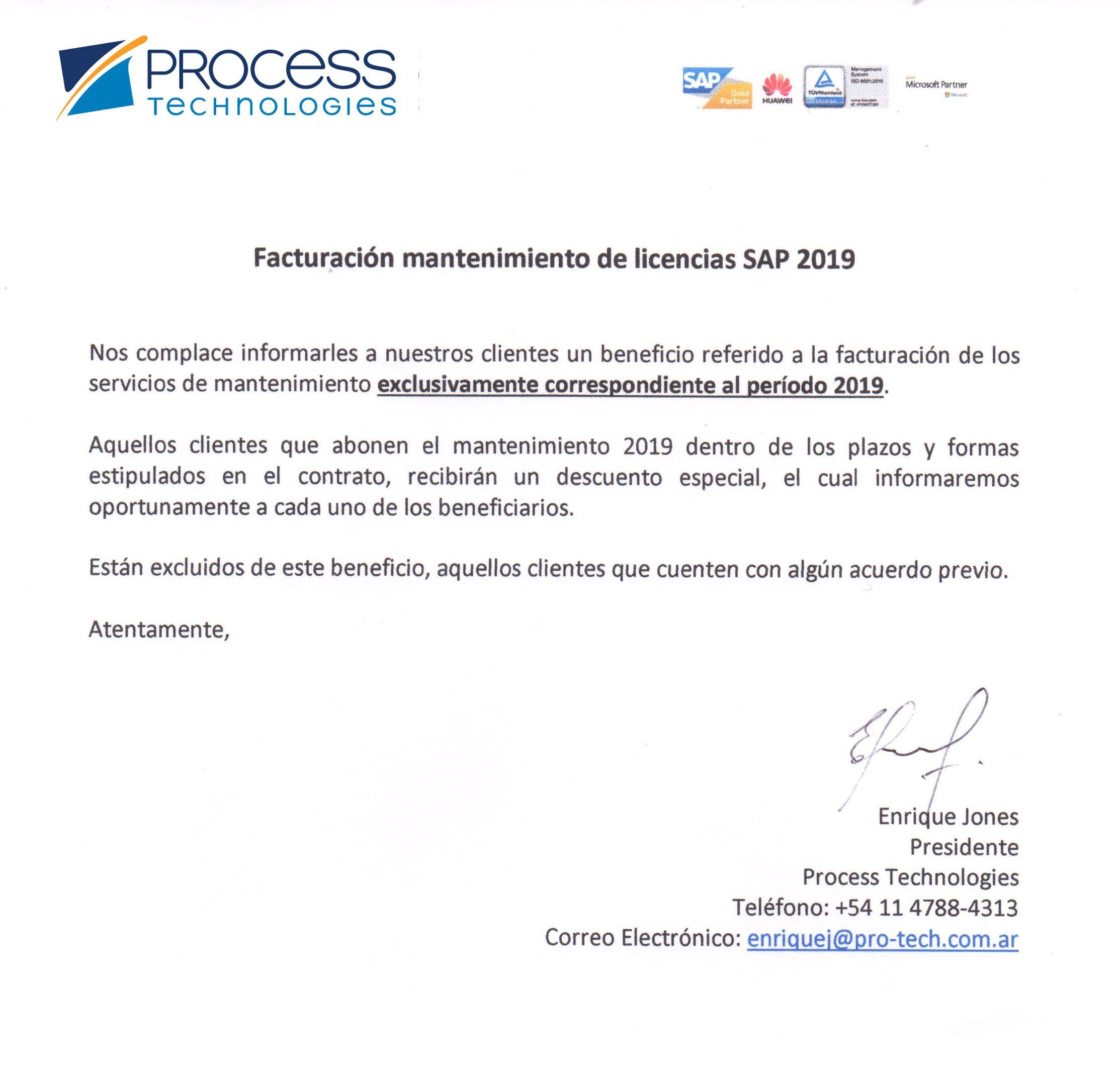 Mantenimiento SAP 2019