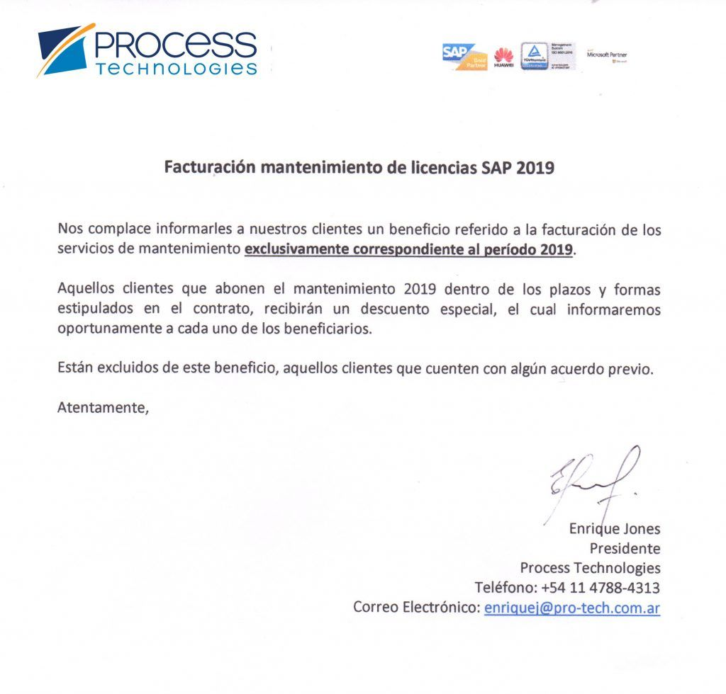 Mantenimiento SAP 2019